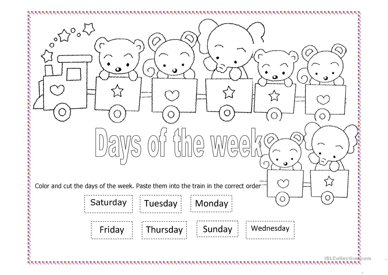 Days Of The Week Worksheets Cut And Paste
