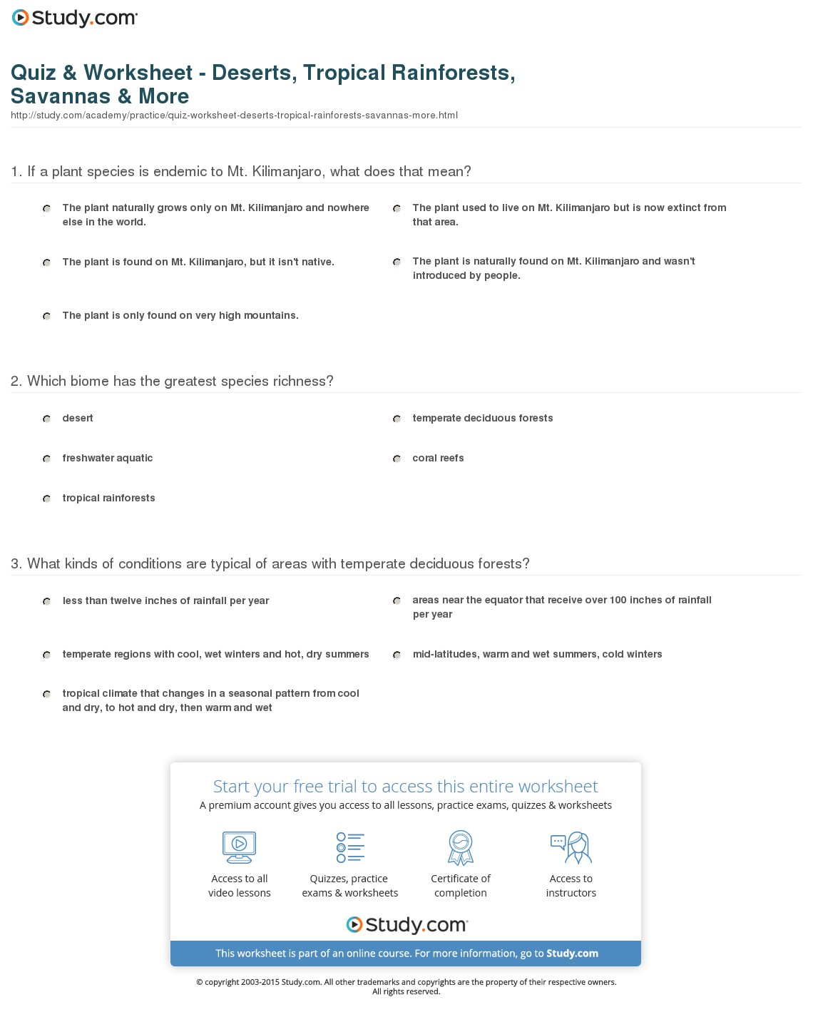 Biome Worksheets Middle School
