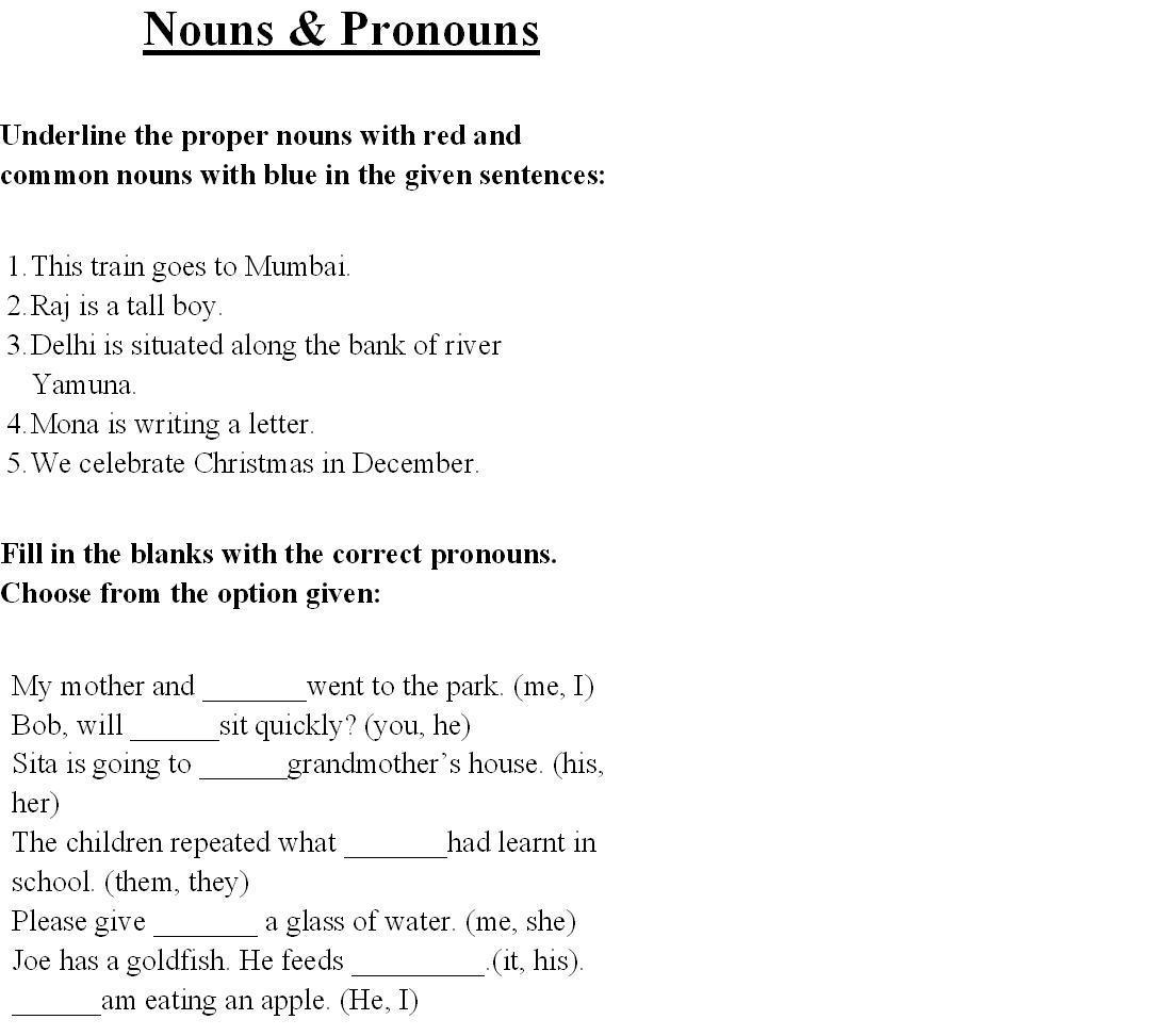 Proper Noun Worksheets For Grade 1