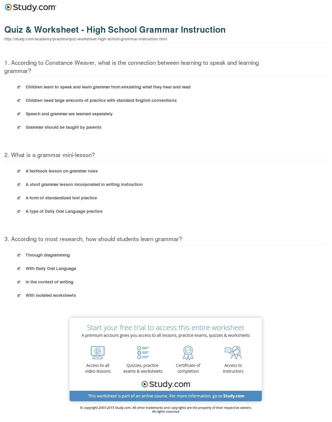 High School Grammar Worksheets