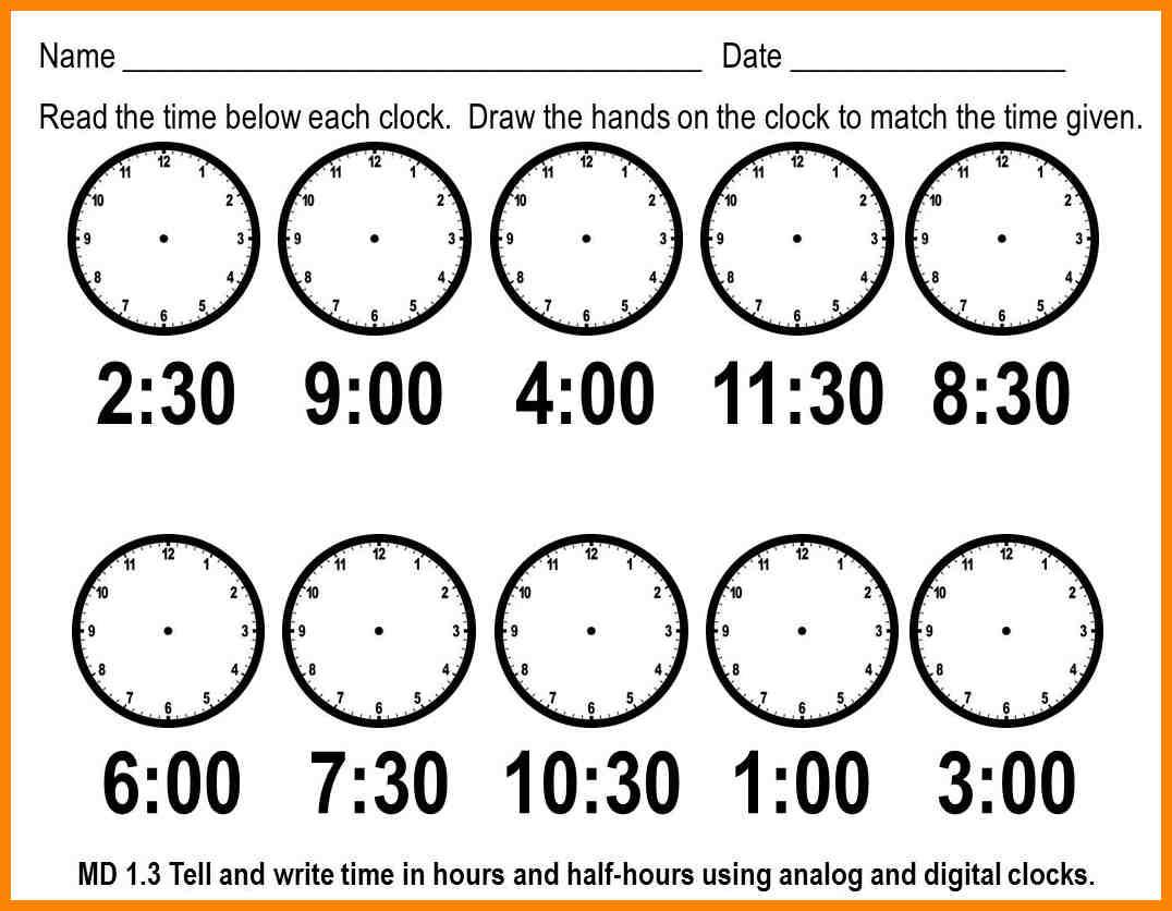 Time Worksheets Kindergarten