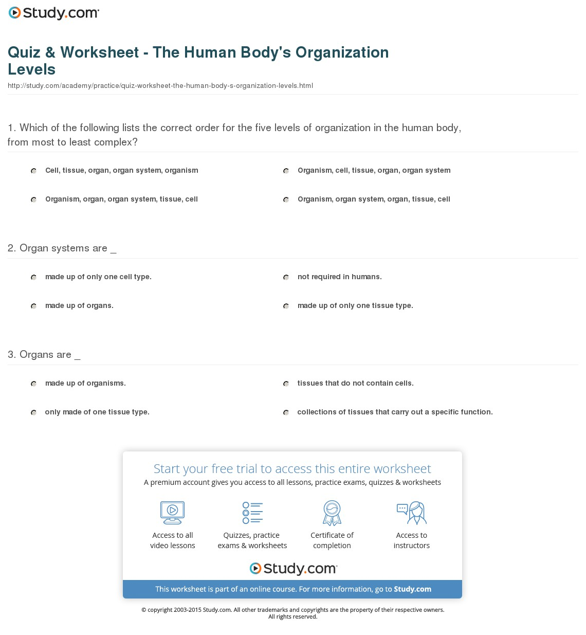 Biological Levels Of Organization Worksheets