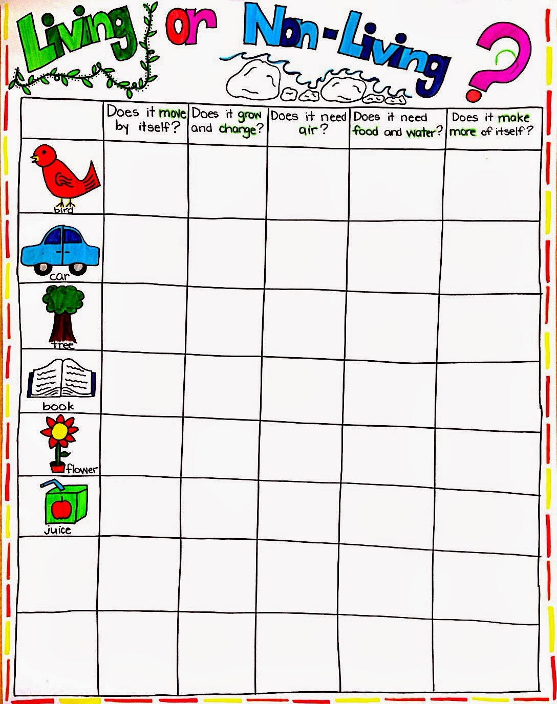 Kindergarten Living And Nonliving Things Worksheets