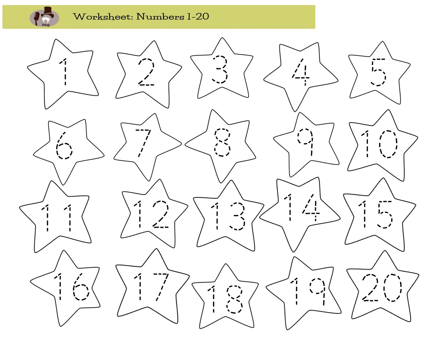 Number 20 Worksheets
