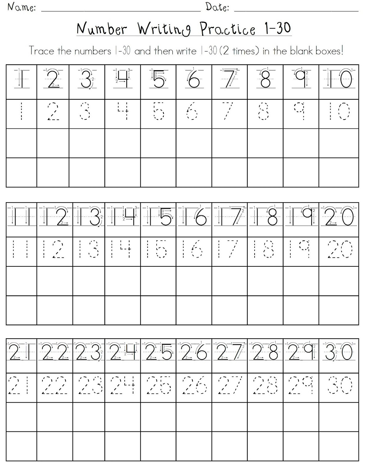 Number Worksheets 1 30
