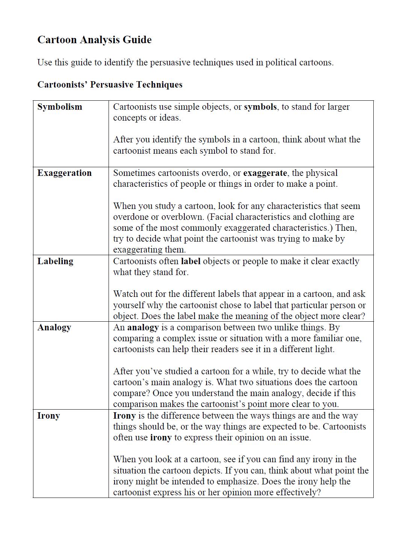 Political Cartoon Worksheets