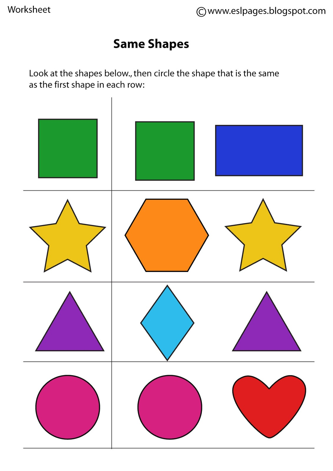 Same And Different Worksheets Preschool