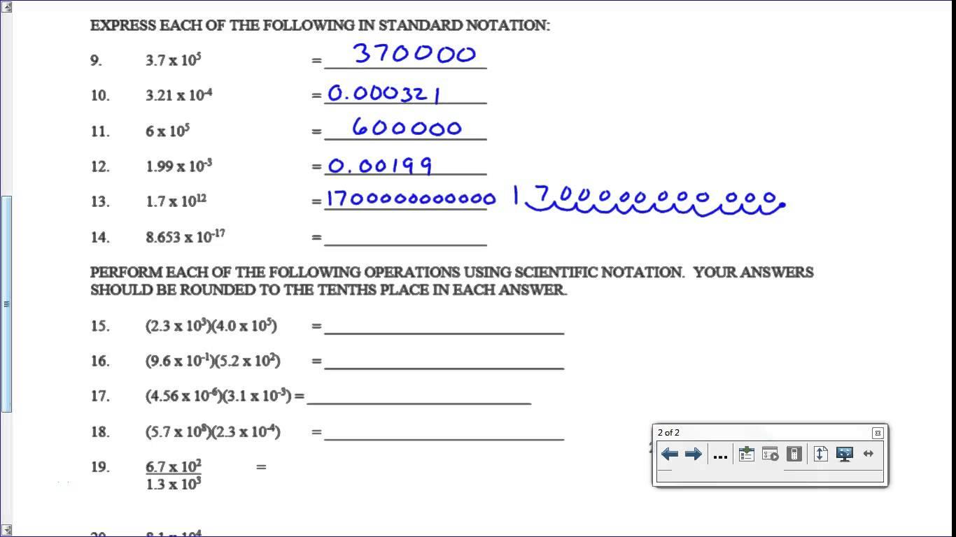 Scientific Notation Worksheets Key
