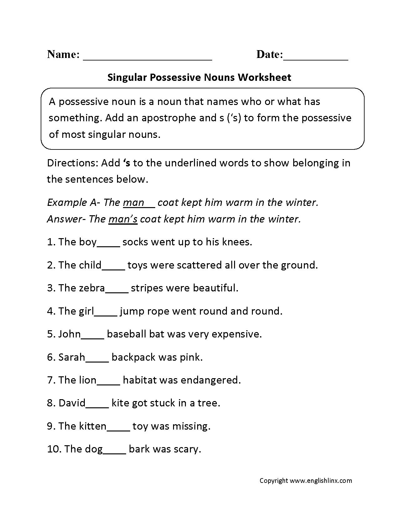 Singular Possessive Nouns Worksheets