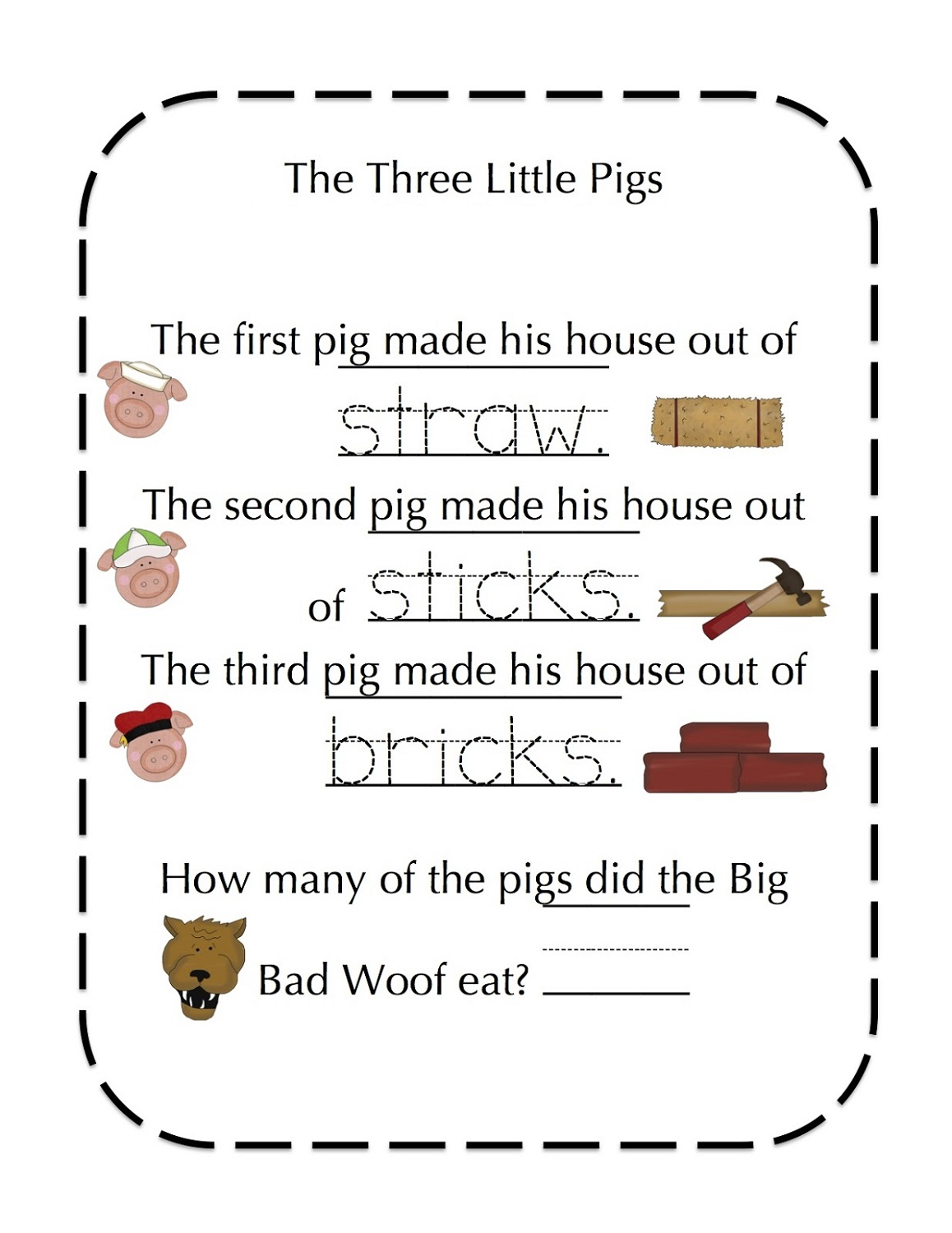 The Three Little Pigs Worksheets Free