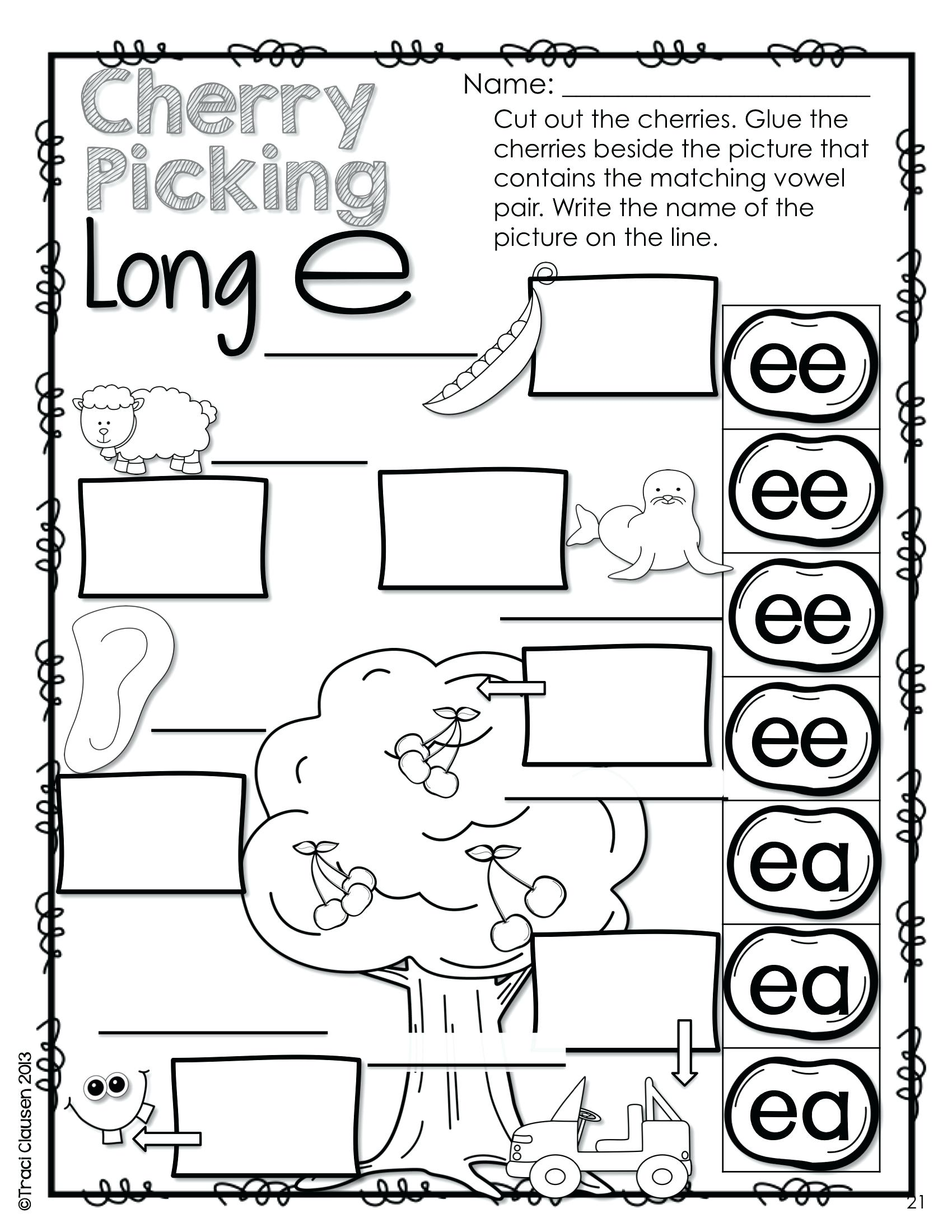 Long Vowel Digraphs Worksheets