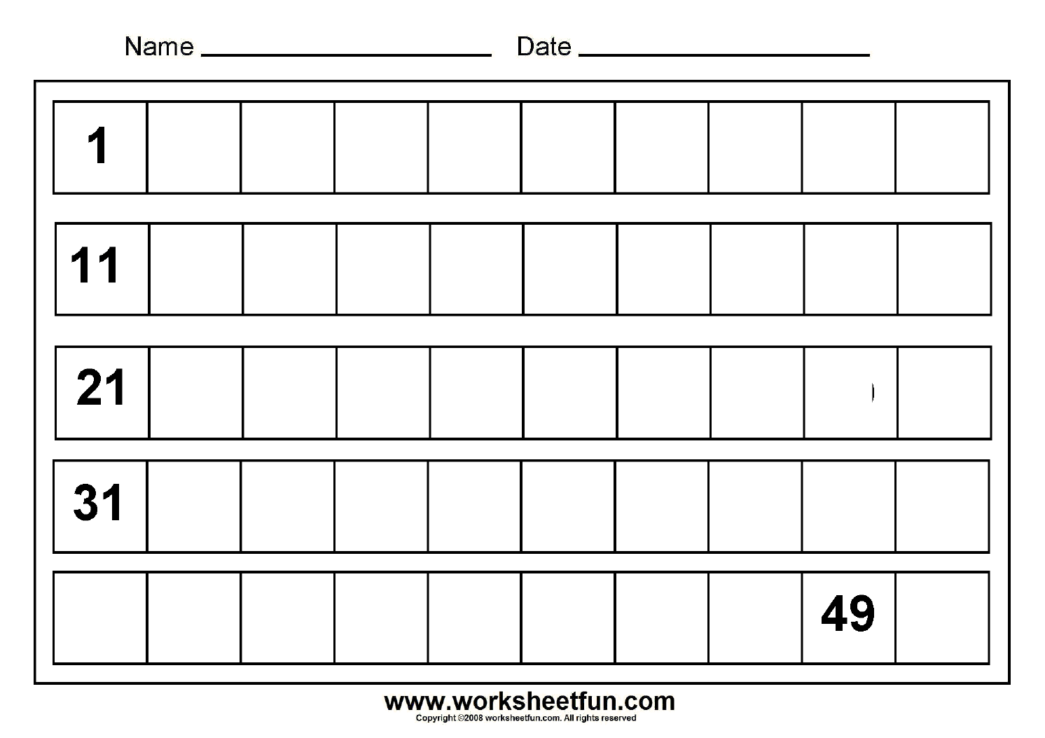 Numbers To 50 Worksheets