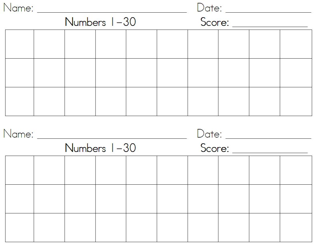 Number Writing Practice Worksheets 1 30