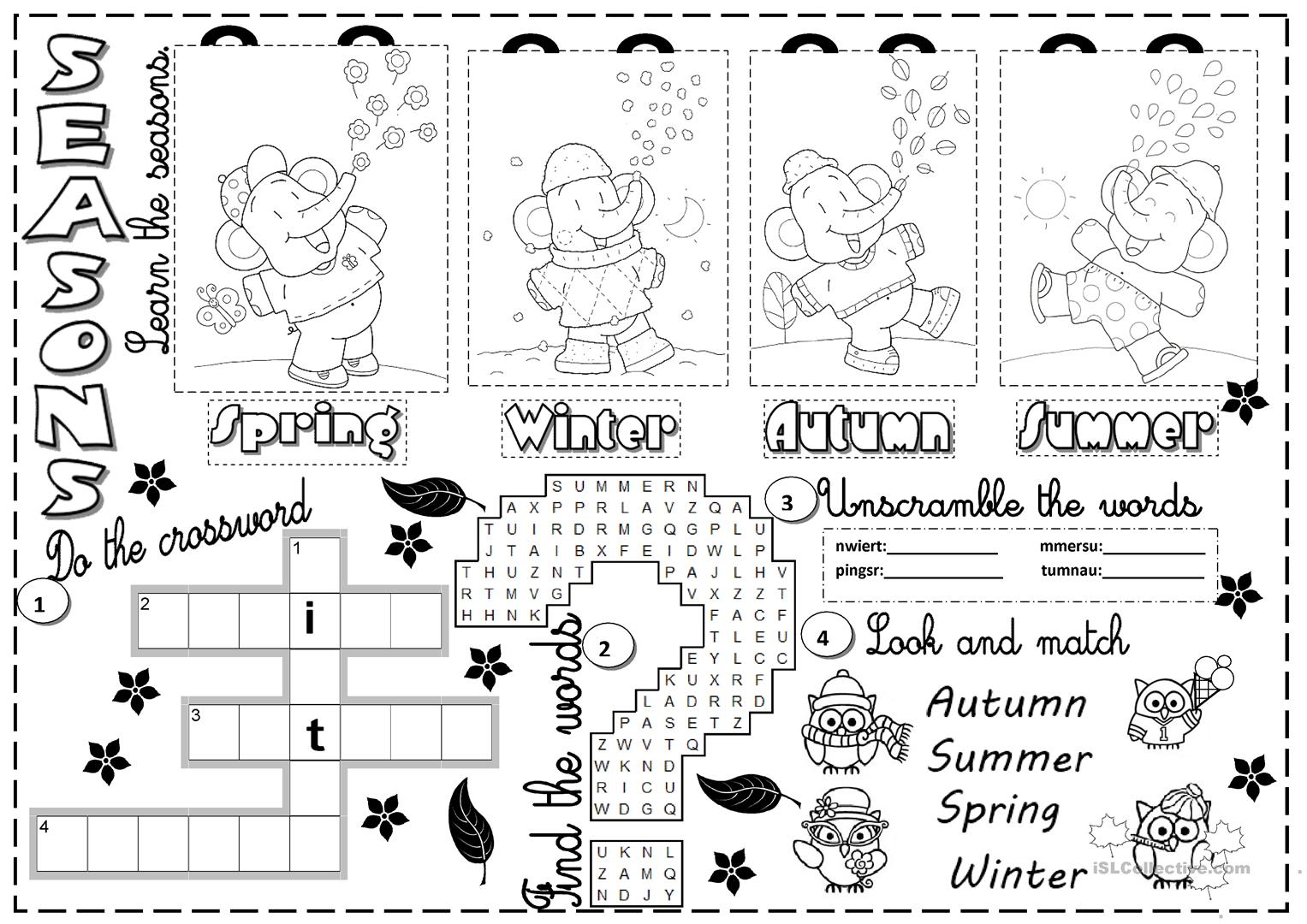 Free Worksheet For Teaching Seasons