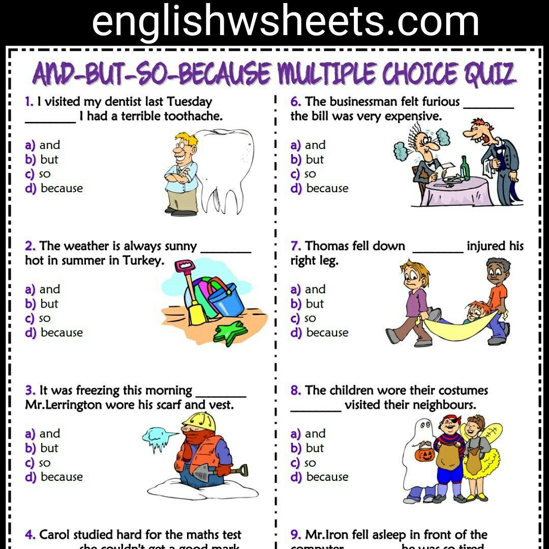 Conjunctions For Kids Worksheets