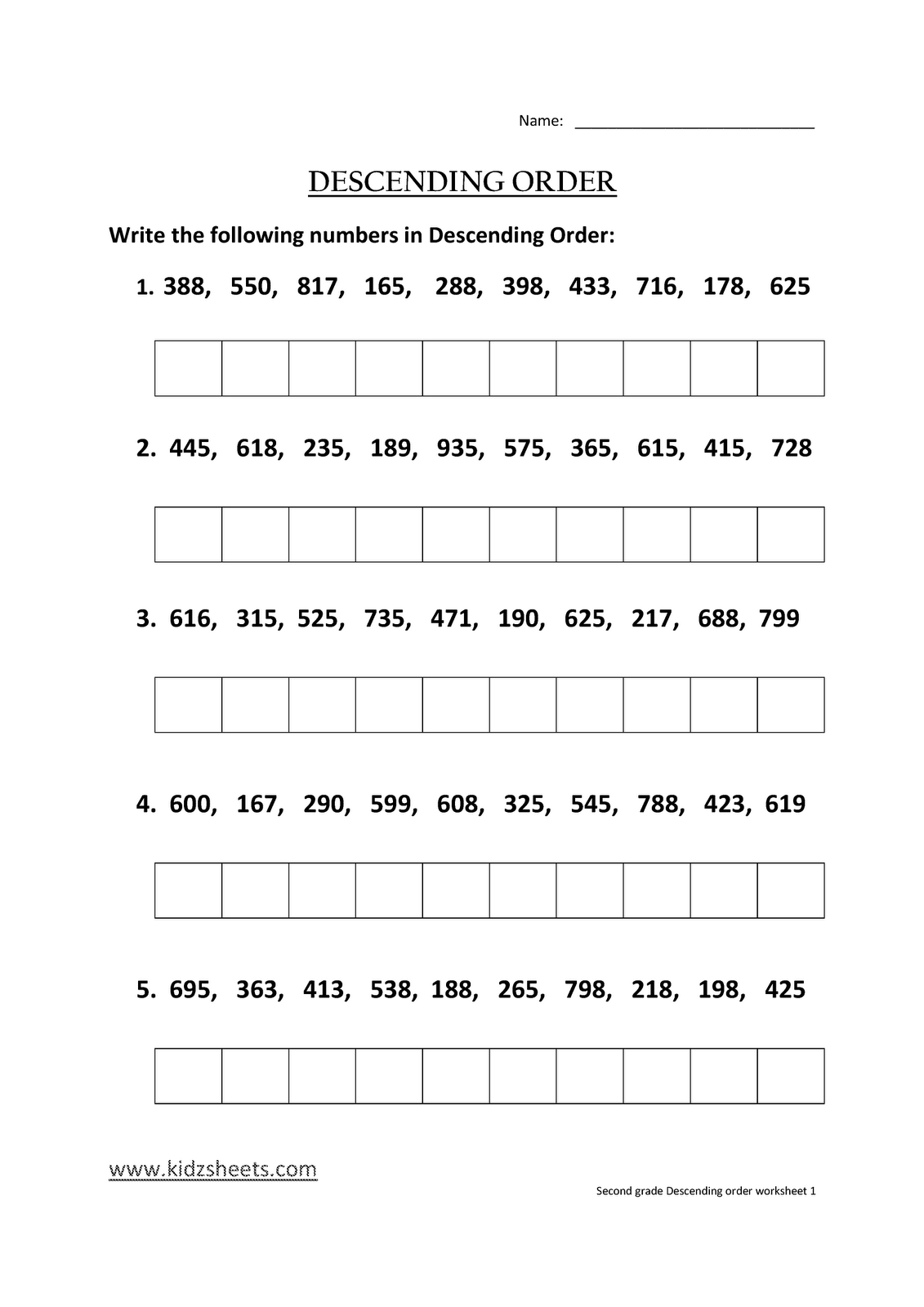 Ascending And Descending Order Worksheets