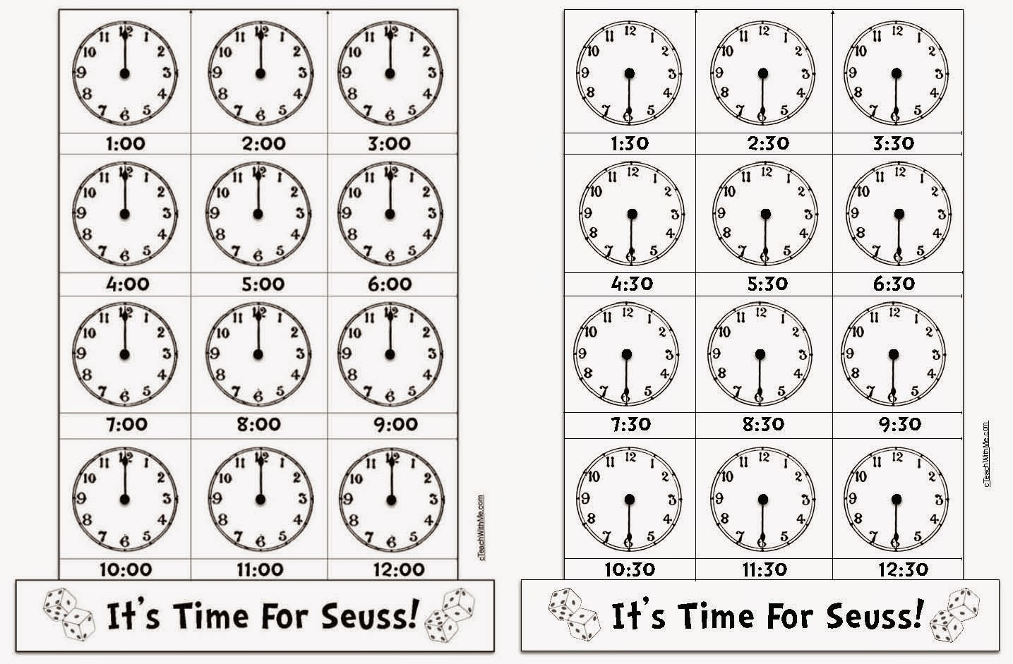 Hour And Half Hour Time Worksheets