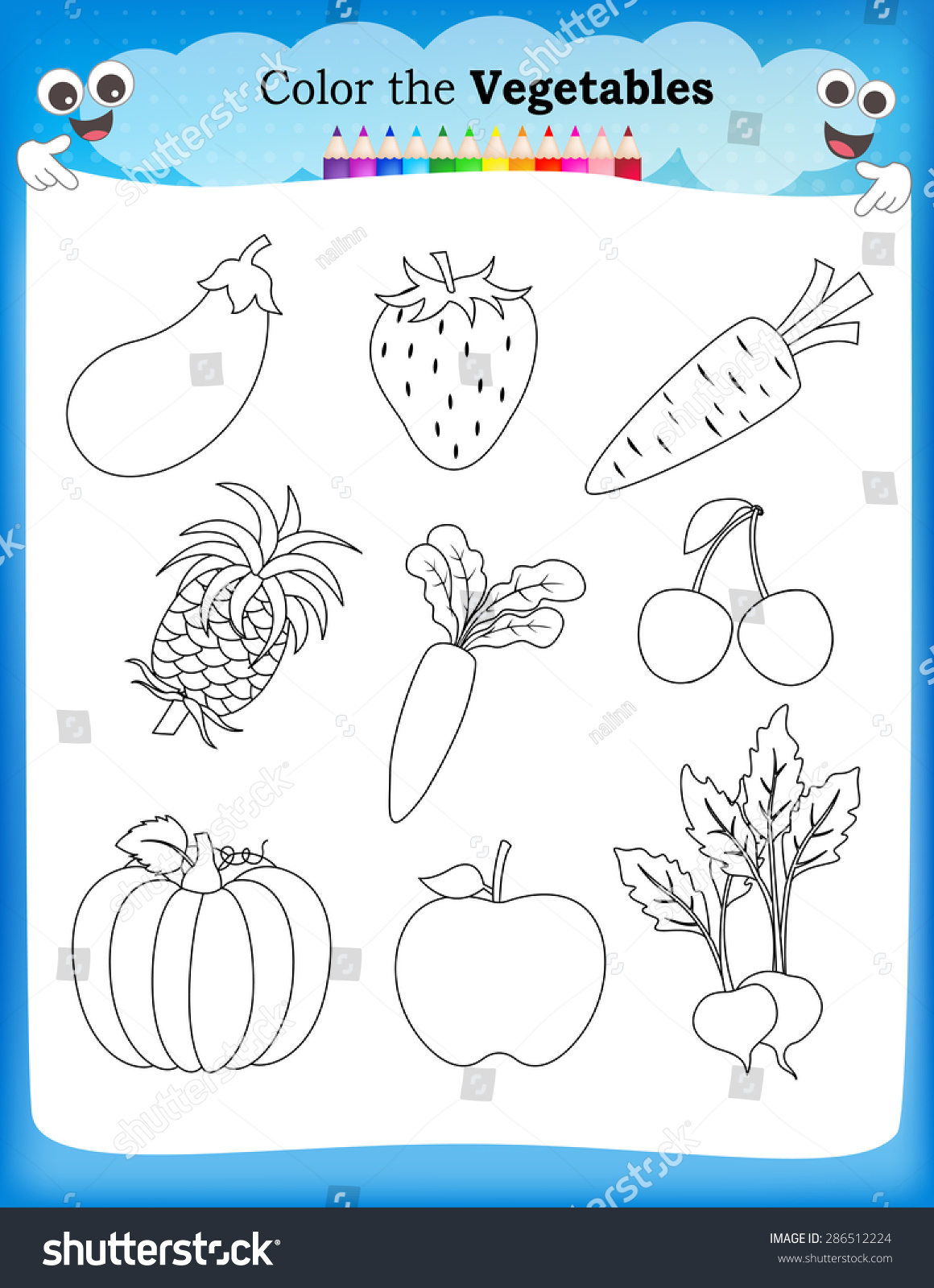 Worksheets On Fruits And Vegetables For Kindergarten