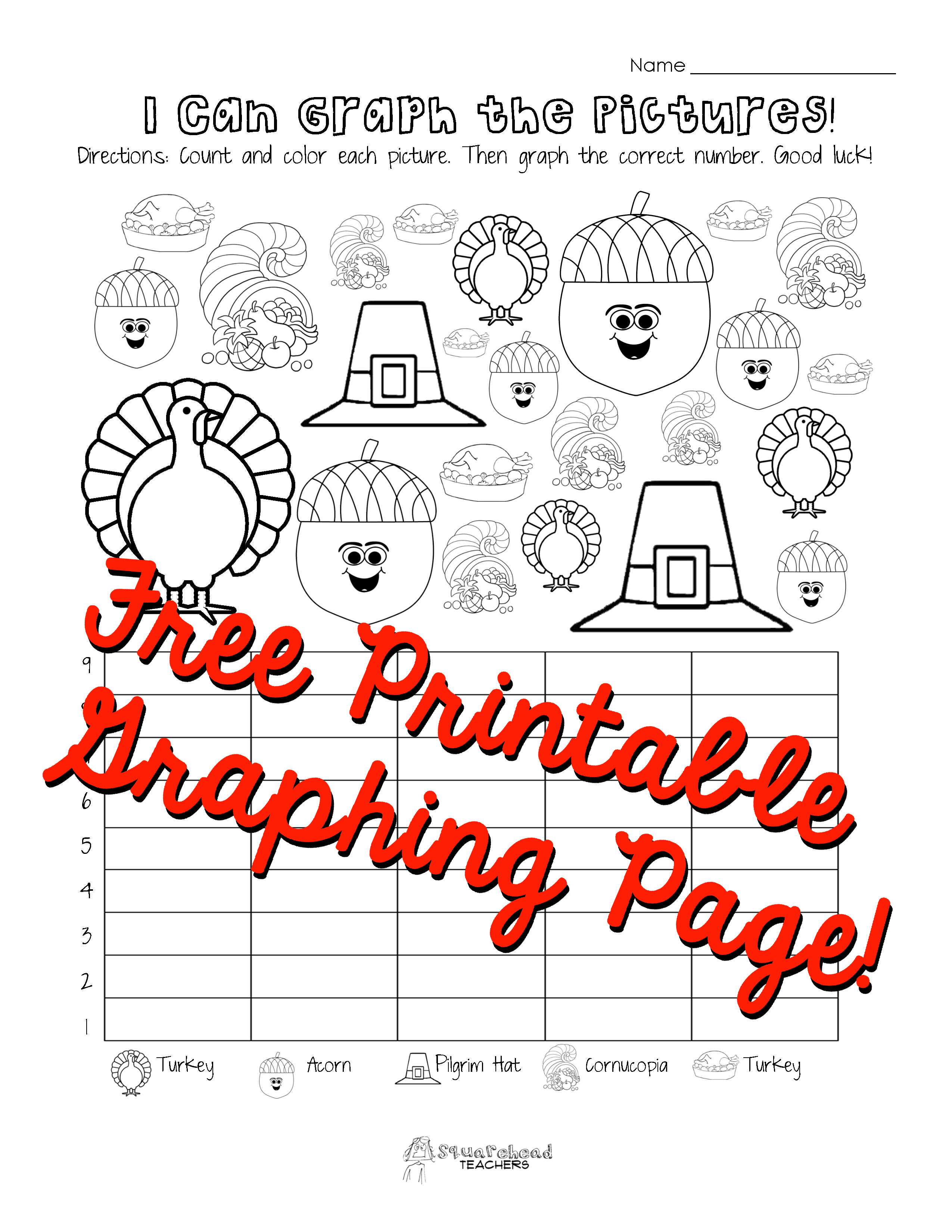 Kindergarten Graphing Worksheet Thanksgiving Page First