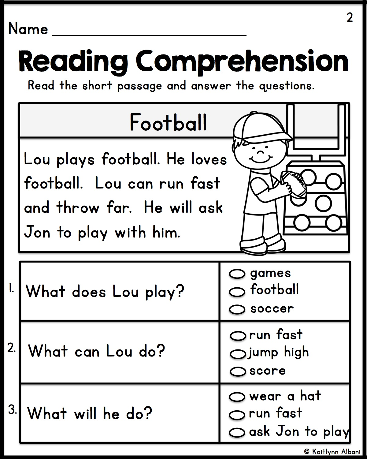 Simple Reading Comprehension Worksheets 1st Grade