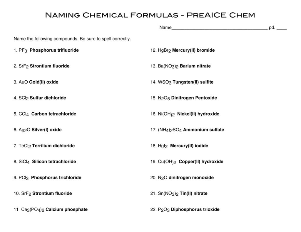 Naming Covalent Compounds Worksheets Answer Sheet