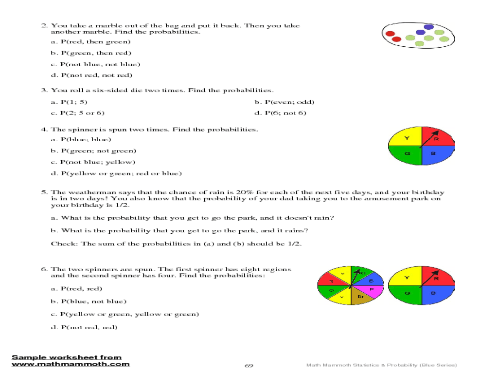 Math Probability Worksheets