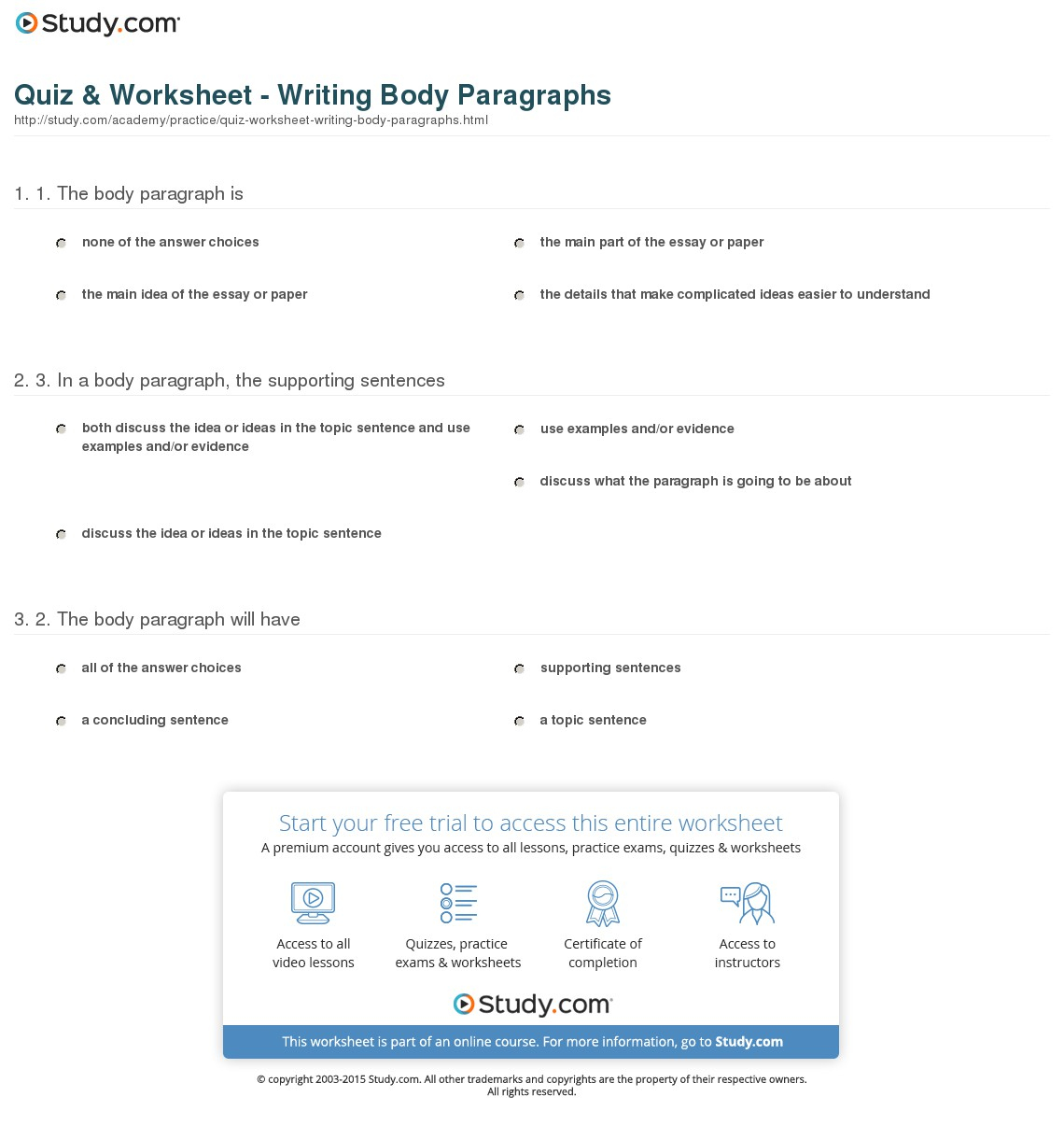 Parts Of Paragraph Worksheets