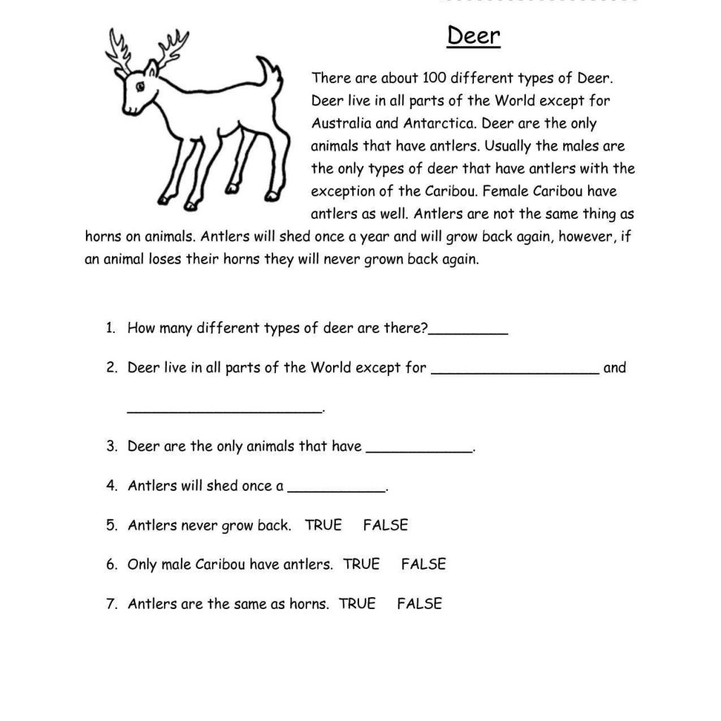 Reading Comprehension Worksheets For 2nd Grade And Reading Worksheets Samples