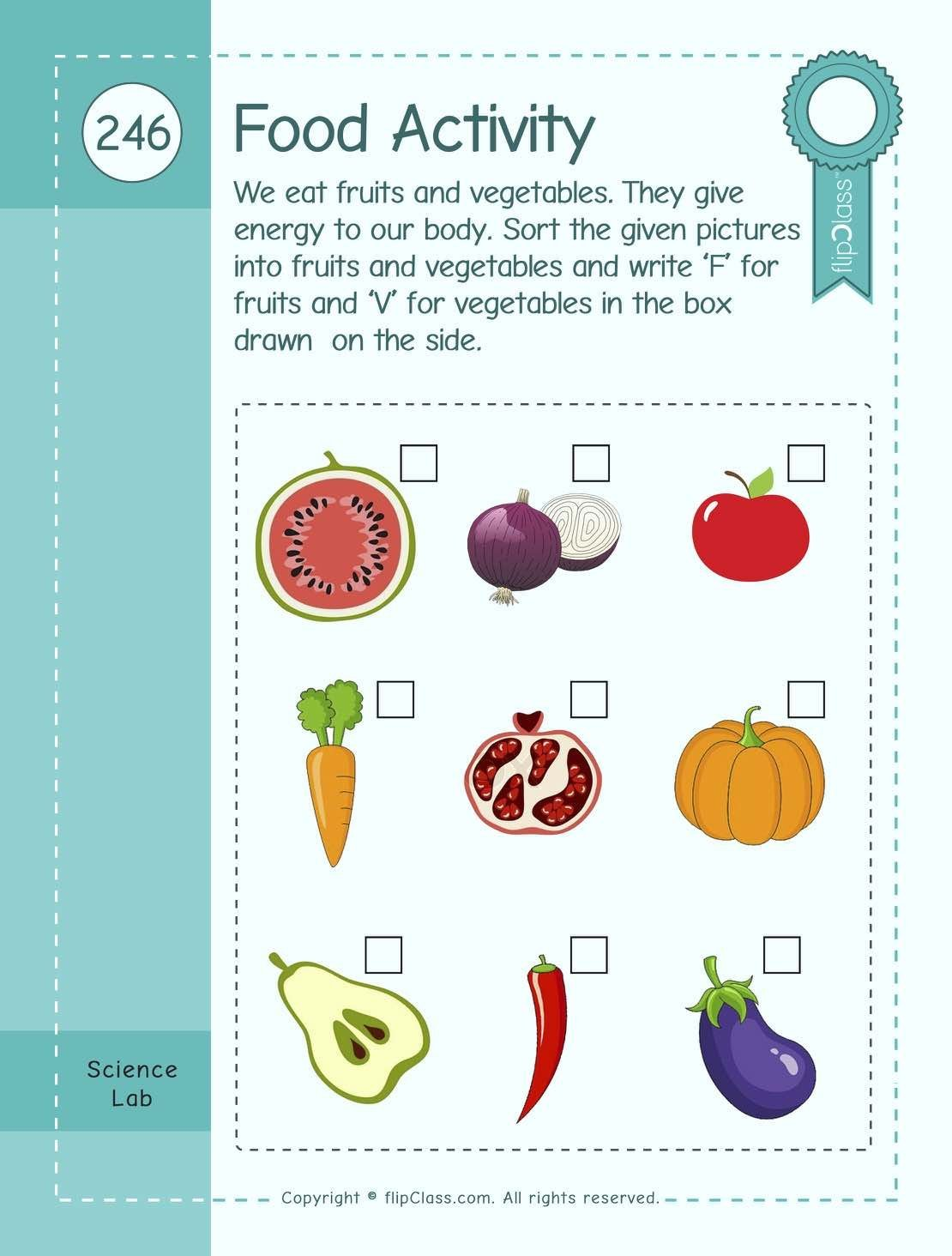 Sorting Fruits And Vegetables Worksheets