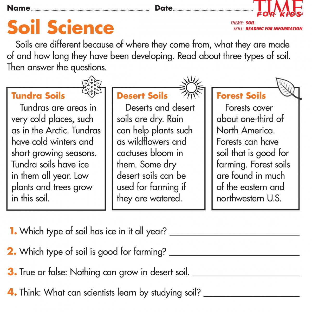 Types Of Soil Worksheets