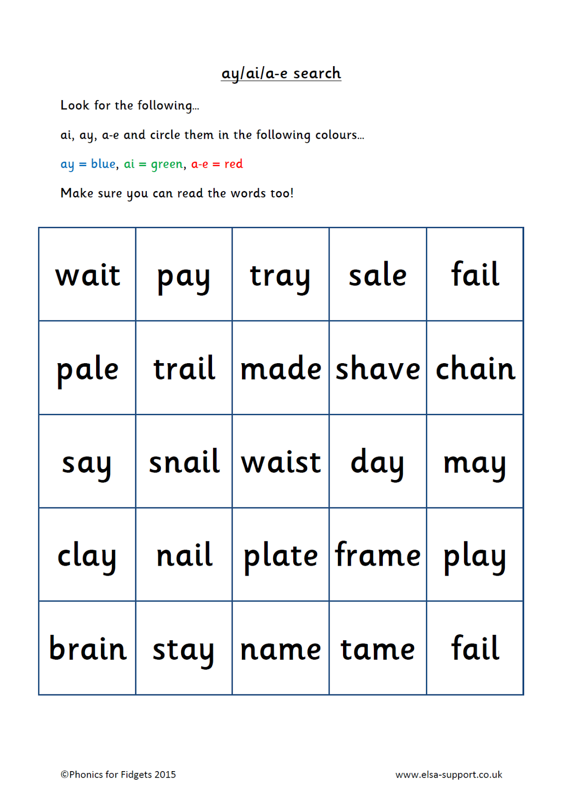 Ai Sound Worksheets