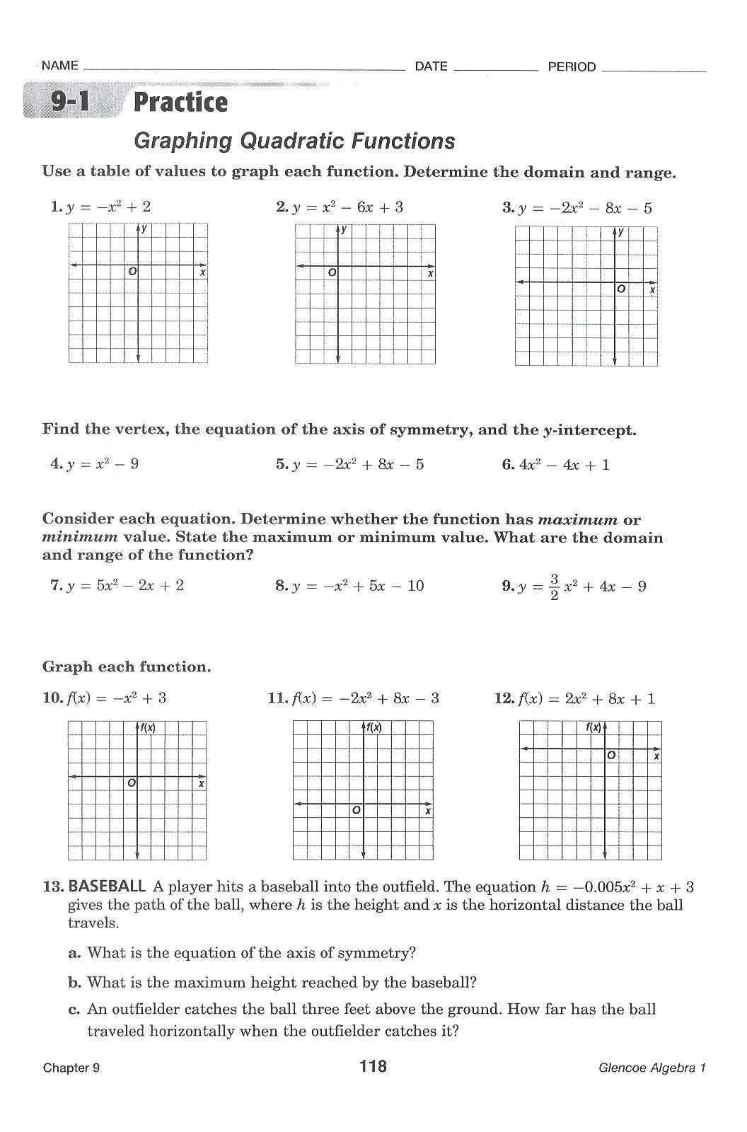 Worksheets Graphing Quadratic Equations Worksheet