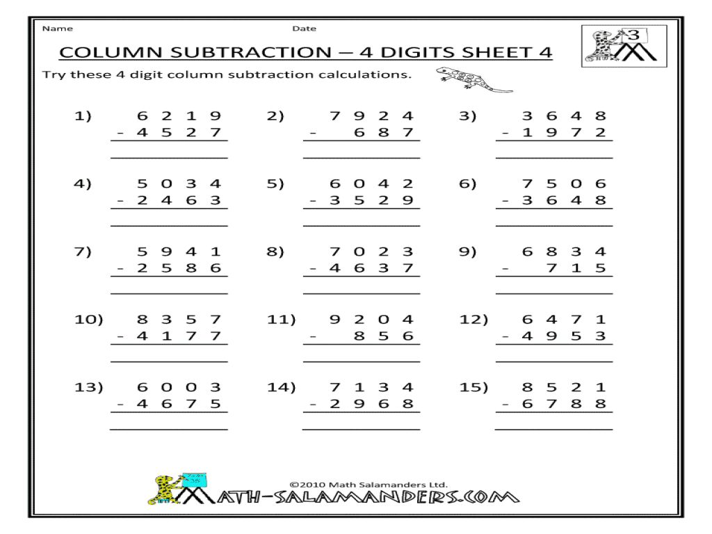 4 Digit Subtraction With Regrouping Worksheets Worksheets
