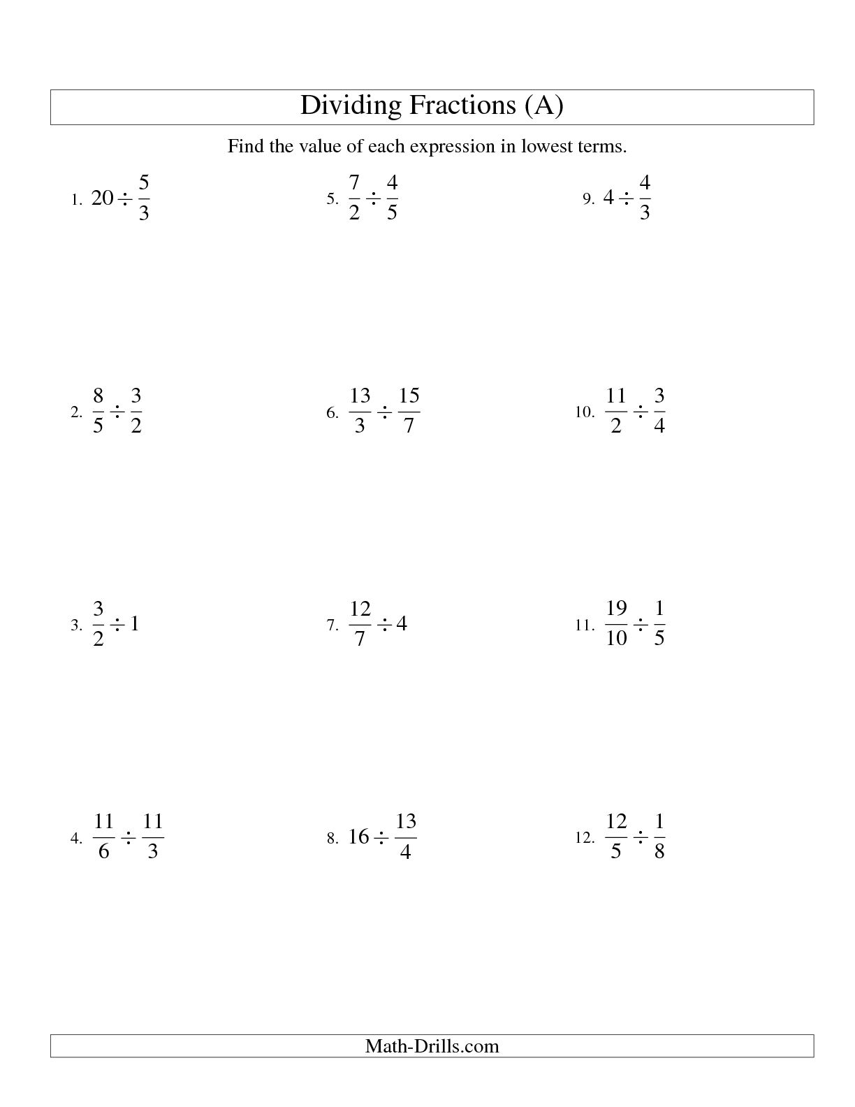 Dividing And Simplifying Fractions With Some Whole Numbers