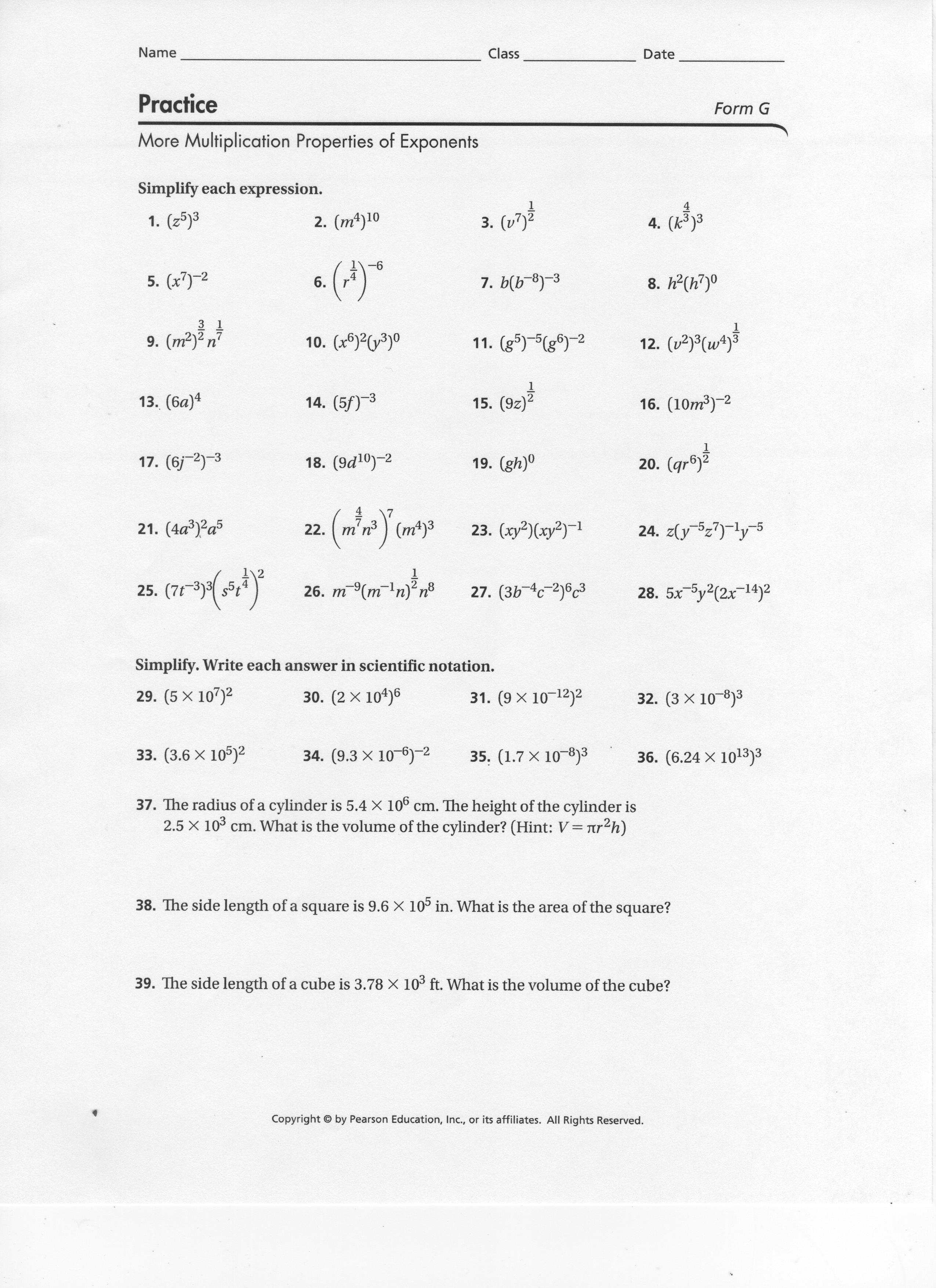 Properties Of Exponents Worksheets Answers