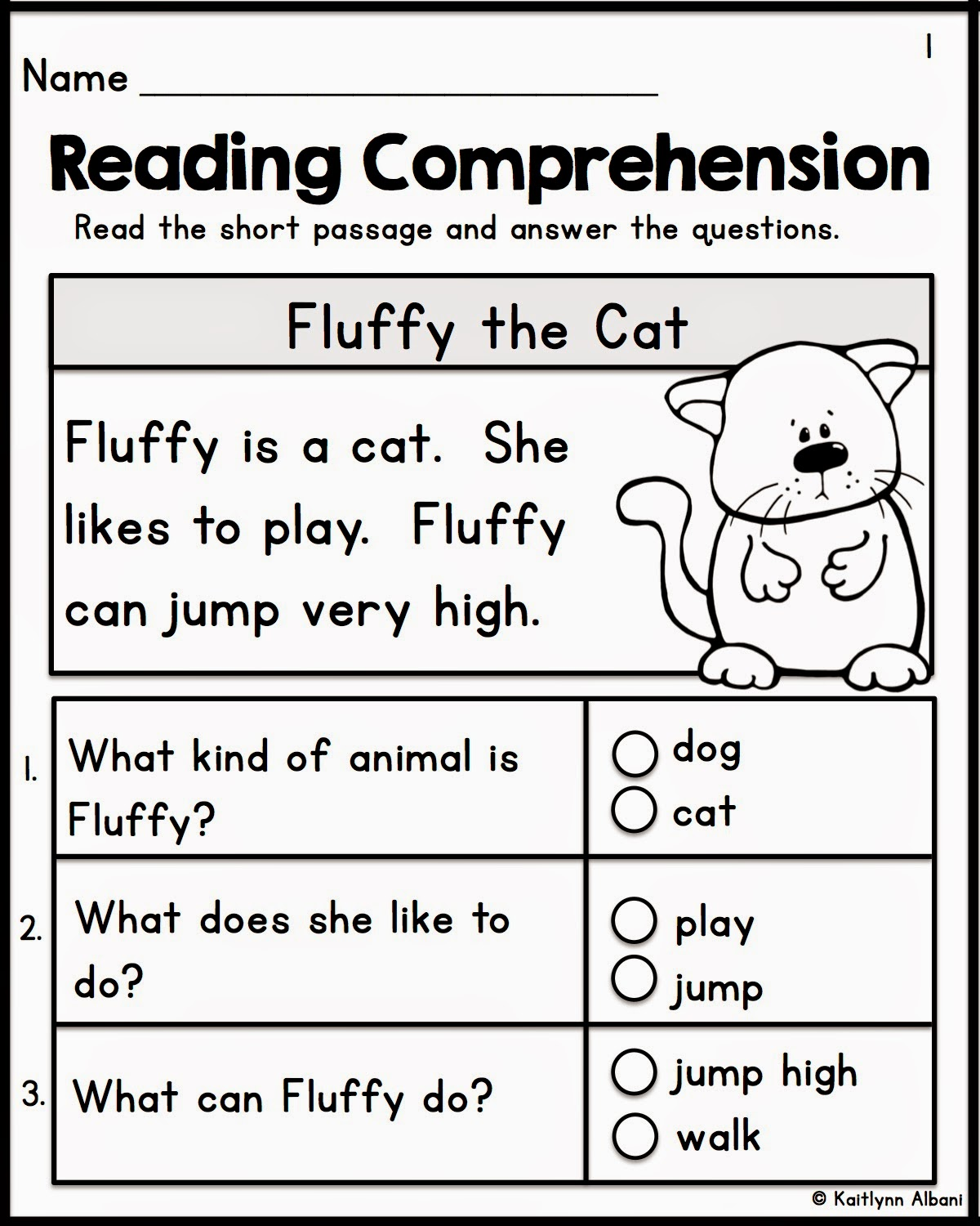 Reading Comprehension Worksheets Grade 1