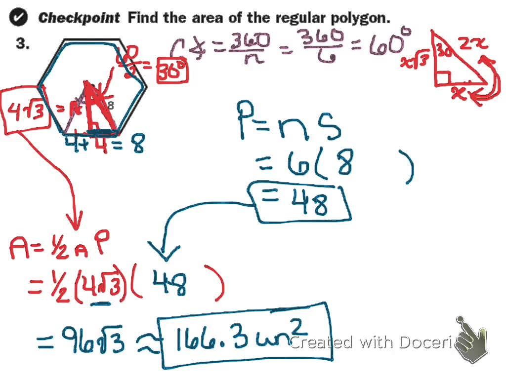 Area Of Regular Polygon Worksheets