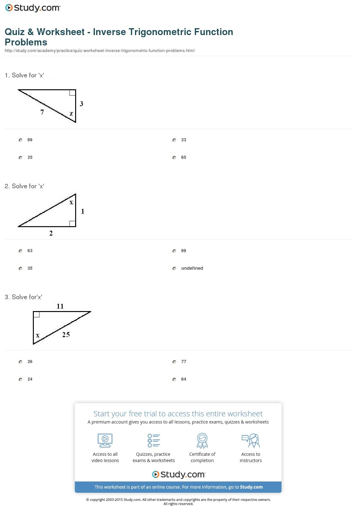 Trigonometric Functions Worksheets