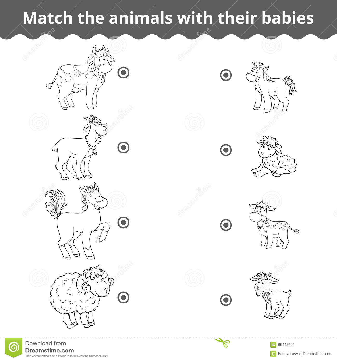 Animal And Baby Matching Worksheets