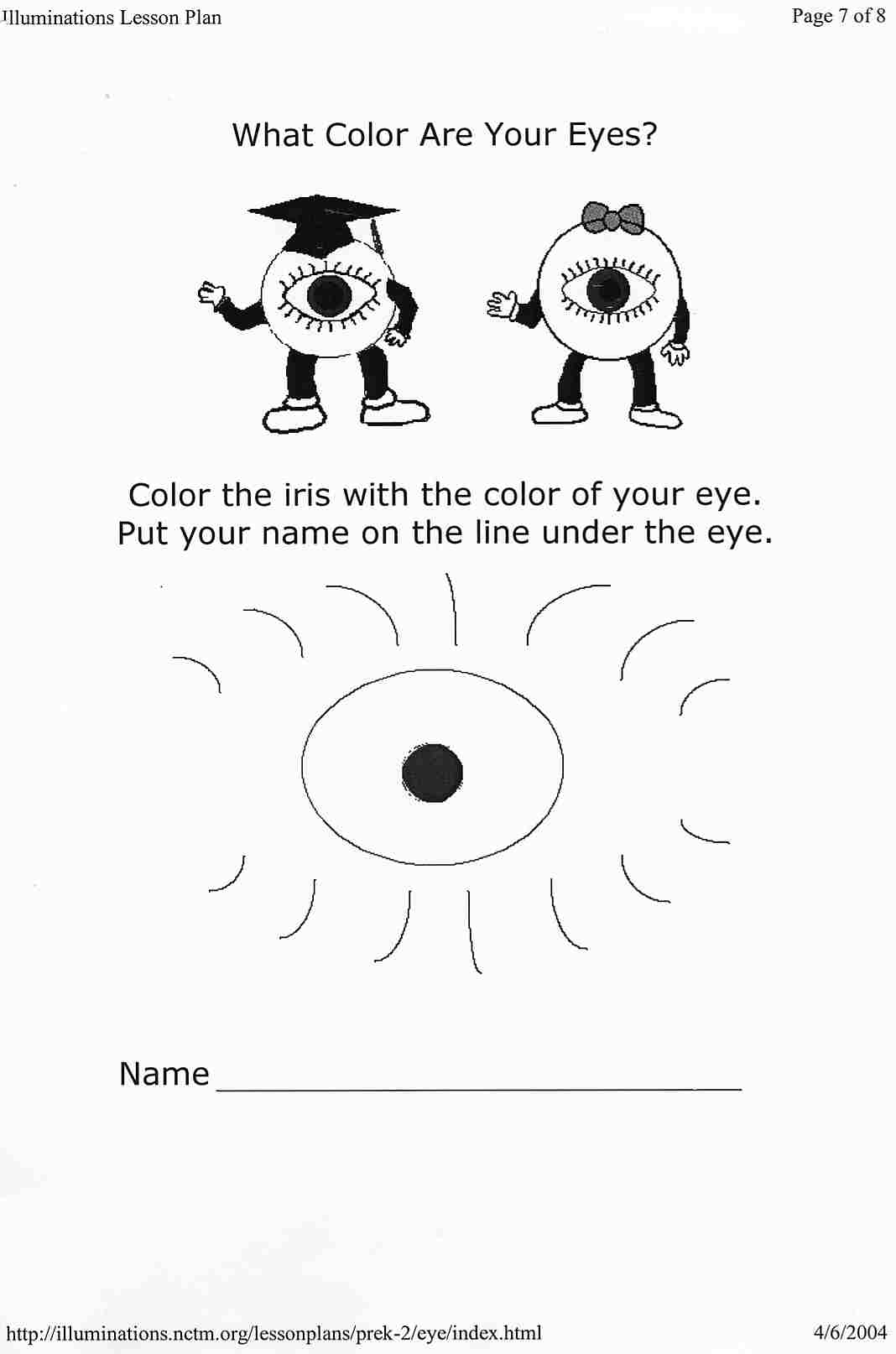 Sense Of Sight Worksheets For Kids