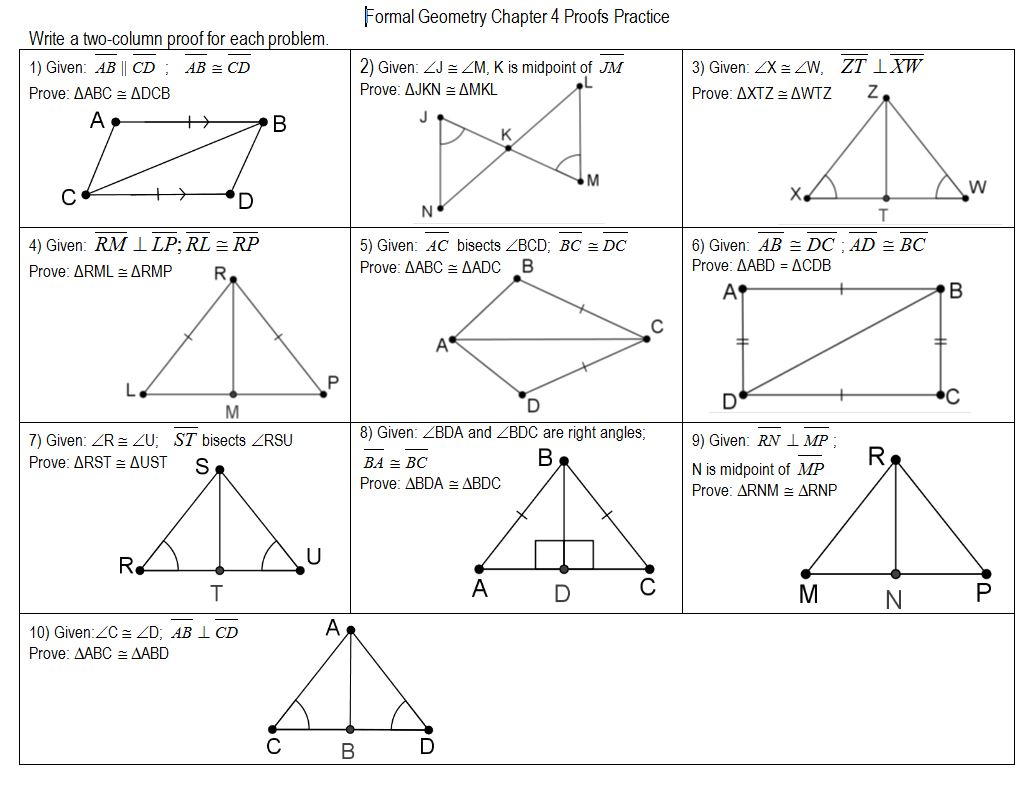 Geometry Congruent Triangles Worksheet