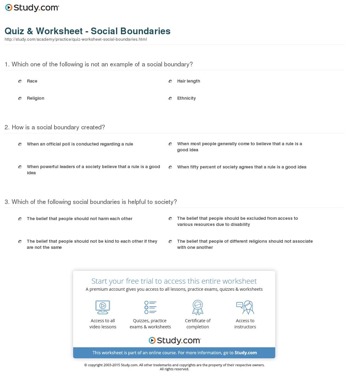 Social Boundaries Worksheets