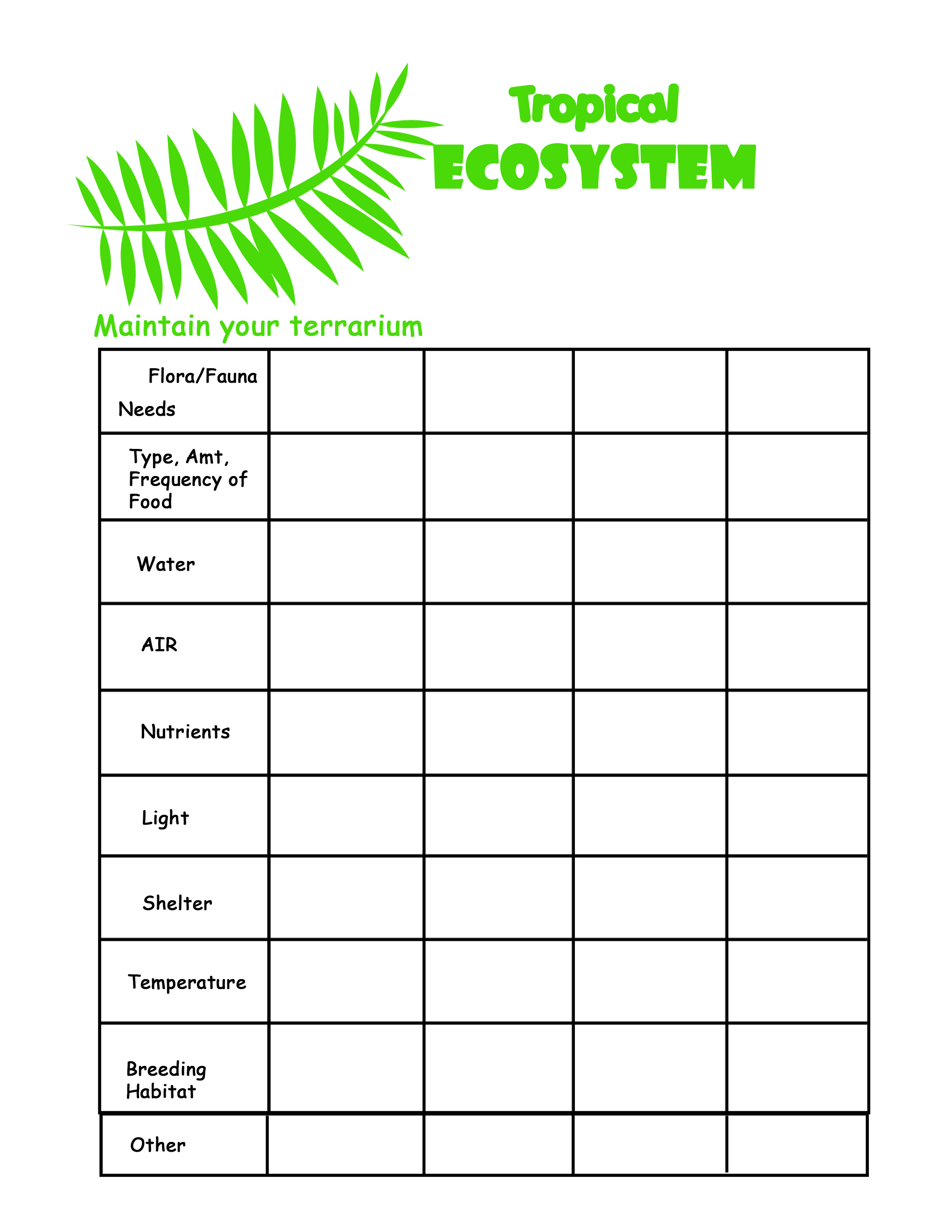 Ecosystem Matching Worksheet