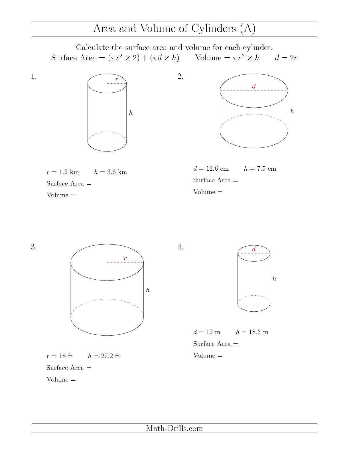 Cylinder Surface Area Worksheets