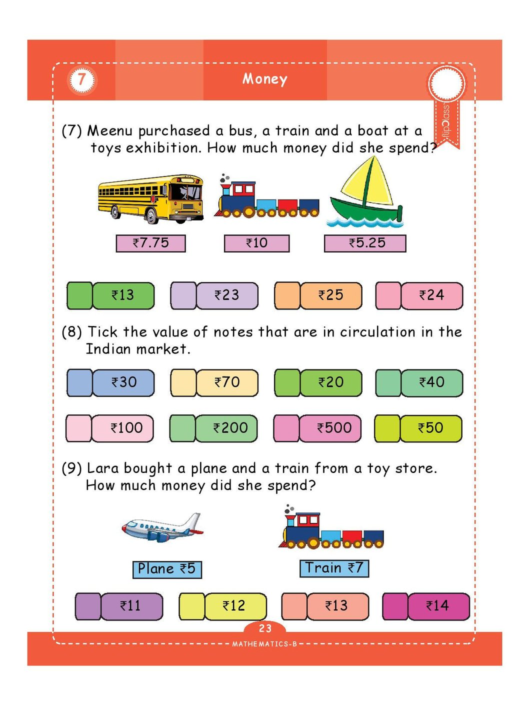 Indian Money Worksheets For Grade 3