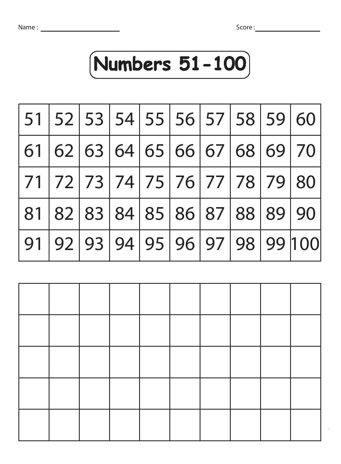 Writing Numbers Worksheets 1 100