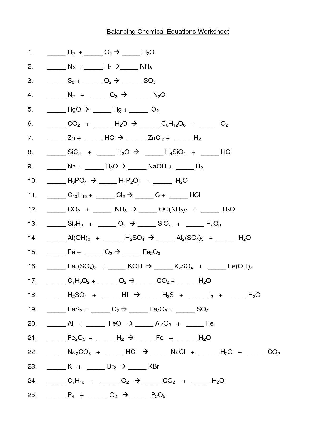 Balancing Equations Examples Worksheet Worksheets Samples