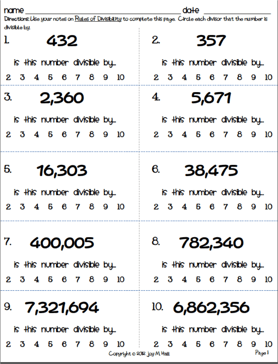 Rules Of Divisibility Worksheets