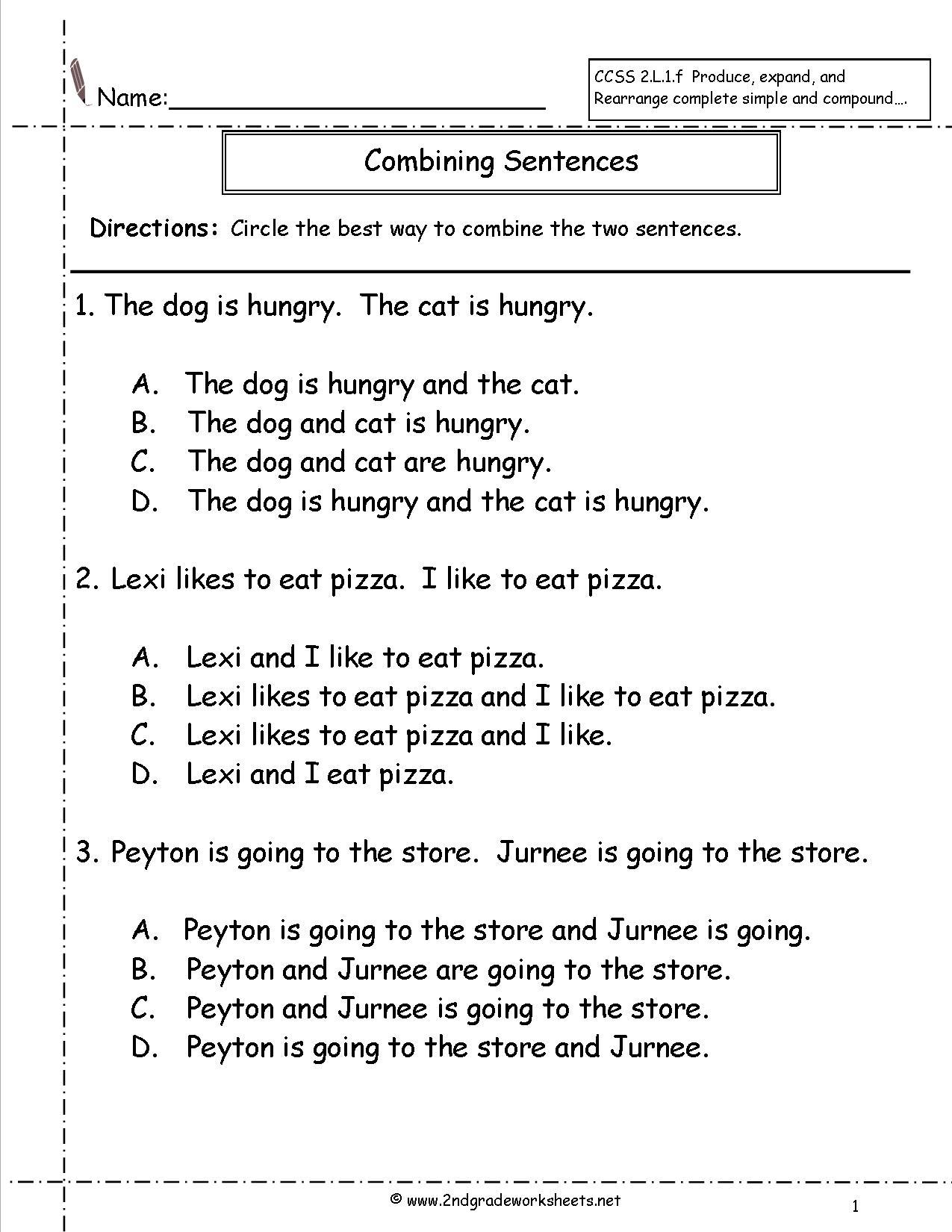 Sentence Editing Worksheets Grade 2