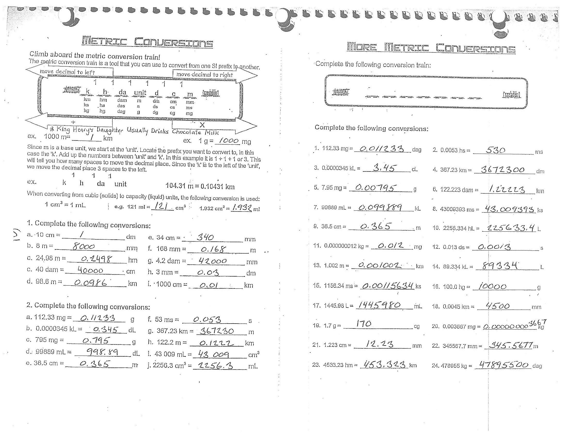 English Metric Conversion Worksheets